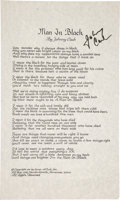 "Music Memorabilia:Autographs and Signed Items, Johnny Cash Signed ""Man in Black"" Lyric Sheet. ..."