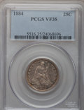 Seated Quarters: , 1884 25C VF35 PCGS. PCGS Population (3/100). NGC Census: (1/79).Mintage: 8,000. Numismedia Wsl. Price for problem free NGC...