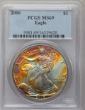 Modern Bullion Coins, 2006 $1 Silver Eagle MS69 PCGS. PCGS Population (6945/373). NGCCensus: (114703/3818). Numismedia Wsl. Price for problem f...