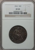 Seated Half Dollars: , 1862 50C XF45 NGC. NGC Census: (8/50). PCGS Population (8/89).Mintage: 253,000. Numismedia Wsl. Price for problem free NGC...