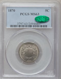 Shield Nickels: , 1870 5C MS63 PCGS. CAC. PCGS Population (43/120). NGC Census:(35/101). Mintage: 4,806,000. Numismedia Wsl. Price for probl...