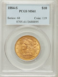 Liberty Eagles: , 1884-S $10 MS61 PCGS. PCGS Population (85/100). NGC Census:(154/61). Mintage: 124,250. Numismedia Wsl. Price for problem f...