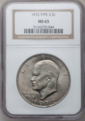 Eisenhower Dollars, 1972 $1 Type Three MS65 NGC. NGC Census: (0/0). PCGS Population(297/4). Numismedia Wsl. Price for problem free NGC/PCGS c...