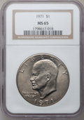 Eisenhower Dollars: , 1971 $1 MS65 NGC. NGC Census: (585/33). PCGS Population (716/41).Mintage: 47,799,000. Numismedia Wsl. Price for problem fr...