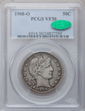 Barber Half Dollars: , 1908-O 50C VF30 PCGS. CAC. PCGS Population (29/361). NGC Census:(6/200). Mintage: 5,360,000. Numismedia Wsl. Price for pro...