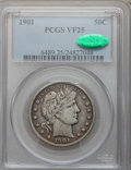 Barber Half Dollars: , 1901 50C VF25 PCGS. CAC. PCGS Population (21/357). NGC Census:(2/227). Mintage: 4,268,813. Numismedia Wsl. Price for probl...