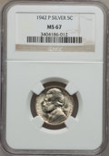 Jefferson Nickels, 1942-P 5C Type Two Silver MS67 NGC. NGC Census: (1899/2). PCGSPopulation (146/0). Mintage: 57,900,600. Numismedia Wsl. Pri...