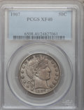 Barber Half Dollars: , 1907 50C XF40 PCGS. PCGS Population (13/310). NGC Census: (3/232).Mintage: 2,598,575. Numismedia Wsl. Price for problem fr...
