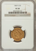 Liberty Half Eagles: , 1869-S $5 VF20 NGC. NGC Census: (4/106). PCGS Population (9/60). Mintage: 31,000. Numismedia Wsl. Price for problem free NG...
