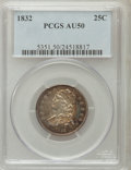 Bust Quarters: , 1832 25C AU50 PCGS. PCGS Population (16/91). NGC Census: (3/84).Mintage: 320,000. Numismedia Wsl. Price for problem free N...