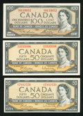 Canadian Currency: , BC-42b $50 1954 Two Examples;. BC-43c $100 1954.. ... (Total: 3 notes)