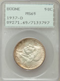 Commemorative Silver: , 1937-D 50C Boone MS65 PCGS. PCGS Population (275/196). NGC Census:(216/139). Mintage: 2,506. Numismedia Wsl. Price for pro...