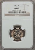 Jefferson Nickels, (2)1947 5C MS66 NGC.... (Total: 2 coins)