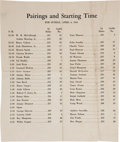 Golf Collectibles:Autographs, 1941 The Masters Sunday Pairing Sheet....
