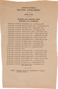 Golf Collectibles:Miscellaneous, 1939 The Masters Sunday Pairing Sheet....