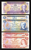 Canadian Currency: , BC-47a $2 1974 Two Examples;. BC-48a $5 1972;. BC-49a $10 1971;.BC-53a $5 1979.. ... (Total: 5 notes)