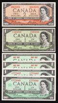 Canadian Currency: , BC-29a $1 1954 Devil's Face;. BC-30b $2 1954 Devil's Face;. BC-45a$1 1967 Two Examples;. BC-45b-i $1 1967 Two Exa... (Total: 6 notes)