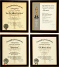 Movie/TV Memorabilia:Autographs and Signed Items, Four Academy of Motion Picture Arts and Sciences 'Certificate of Nomination for Award' Plaques, 1950s-1970s.... (Total: 4 Items)