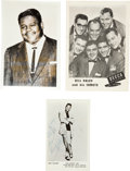 Music Memorabilia:Autographs and Signed Items, Fats Domino and Larry Williams Autographs.... (Total: 3 Items)
