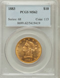 Liberty Eagles: , 1883 $10 MS62 PCGS. PCGS Population (300/76). NGC Census:(447/103). Mintage: 208,740. Numismedia Wsl. Price for problemfr...