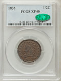 Half Cents: , 1835 1/2 C XF40 PCGS. CAC. PCGS Population (58/776). NGC Census:(33/1333). Mintage: 398,000. Numismedia Wsl. Price for pro...