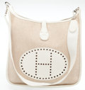 Luxury Accessories:Bags, Heritage Vintage: Hermes Sand Canvas and White Leather Evelyne GM Bag. ...