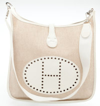 Heritage Vintage: Hermes Sand Canvas and White Leather Evelyne GM Bag