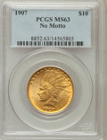 Indian Eagles: , 1907 $10 No Periods MS63 PCGS. PCGS Population (1079/949). NGCCensus: (797/1315). Mintage: 239,400. Numismedia Wsl. Price ...