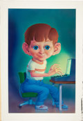 Original Comic Art:Illustrations, Don Ivan Punchatz Big-Eyed Boy at His Computer Illustration Original Art (1982)....
