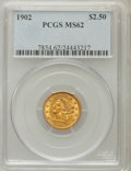 Liberty Quarter Eagles: , 1902 $2 1/2 MS62 PCGS. PCGS Population (672/2093). NGC Census:(845/1892). Mintage: 133,500. Numismedia Wsl. Price for prob...