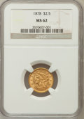 Liberty Quarter Eagles: , 1878 $2 1/2 MS62 NGC. NGC Census: (602/432). PCGS Population(353/440). Mintage: 286,260. Numismedia Wsl. Price for problem...