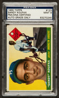Autographs:Sports Cards, Signed 1955 Topps Sandy Koufax Rookie #123 PSA/DNA Mint 9. ...