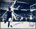 Basketball Collectibles:Photos, John Havlicek and Bill Russell Signed Oversized Photograph....