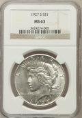 Peace Dollars: , 1927-S $1 MS63 NGC. NGC Census: (952/1130). PCGS Population(1771/1358). Mintage: 866,000. Numismedia Wsl. Price for proble...
