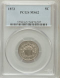Shield Nickels: , 1872 5C MS62 PCGS. PCGS Population (21/228). NGC Census: (23/147). Mintage: 6,036,000. Numismedia Wsl. Price for problem fr...