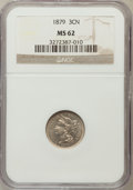 Three Cent Nickels: , 1879 3CN MS62 NGC. NGC Census: (6/105). PCGS Population (9/118).Mintage: 38,000. Numismedia Wsl. Price for problem free NG...