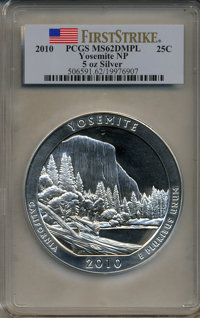2010 25C Yosemite National Park Five Ounce Silver First Strike MS62 Deep Mirror Prooflike PCGS. PCGS Population (4/3570)...