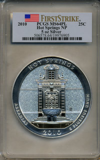 2010 25C Hot Springs National Park Five Ounce Silver First Strike MS64 Prooflike PCGS. PCGS Population (13/1311). NGC Ce...