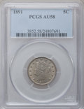 Liberty Nickels: , 1891 5C AU58 PCGS. PCGS Population (36/476). NGC Census: (10/352).Mintage: 16,834,350. Numismedia Wsl. Price for problem f...