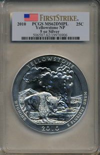 2010 25C Yellowstone National Park Five Ounce Silver First Strike MS62 Deep Mirror Prooflike PCGS. PCGS Population (2/32...
