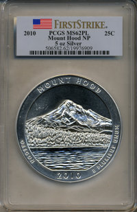 2010 25C Mount Hood National Park Five Ounce Silver First Strike MS62 Prooflike PCGS. PCGS Population (15/2258). NGC Cen...