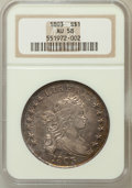 Early Dollars: , 1803 $1 Small 3 AU58 NGC. NGC Census: (18/10). PCGS Population(10/5). Mintage: 85,634. Numismedia Wsl. Price for problem f...
