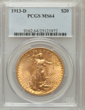 Saint-Gaudens Double Eagles: , 1913-D $20 MS64 PCGS. PCGS Population (1260/353). NGC Census:(851/141). Mintage: 393,500. Numismedia Wsl. Price for proble...
