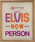 Music Memorabilia:Posters, Elvis Presley Rare First Poster for His International Hotel Opening(1969). ...