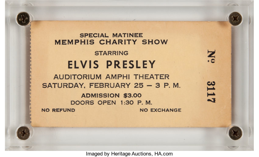 Elvis Presley Memphis Charity Show Ticket (1961)     Music