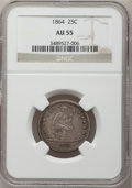 Seated Quarters: , 1864 25C AU55 NGC. NGC Census: (4/34). PCGS Population (1/48).Mintage: 93,600. Numismedia Wsl. Price for problem free NGC/...