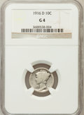 Mercury Dimes: , 1916-D 10C Good 4 NGC. NGC Census: (363/846). PCGS Population(1086/2220). Mintage: 264,000. Numismedia Wsl. Price for prob...