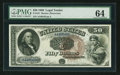Large Size:Legal Tender Notes, Fr. 161 $50 1880 Legal Tender PMG Choice Uncirculated 64.. ...