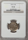 Buffalo Nickels: , 1921-S 5C VF20 NGC. NGC Census: (73/527). PCGS Population(102/769). Mintage: 1,557,000. Numismedia Wsl. Price for problem...