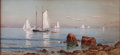 Fine Art - Work on Paper:Watercolor, ALFRED THOMPSON BRICHER (American, 1837-1908). NarragansettBay. Watercolor and gouache on paper laid on board. 10 x 21-...